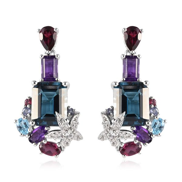 London Blue Topaz, Amethyst and Multi Gemstone Earrings (with Push Back) in Platinum Overlay Sterlin