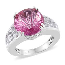 11.50 Ct Mystic Pink Topaz and White Topaz Solitaire Ring in Platinum Plated Silver