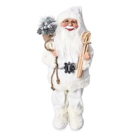 Christmas Decor - Santa Claus Standing with Gift Bag and Skis (Size 45 Cm) - White