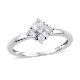 9K White Gold Diamond (Bgt and Rnd) Ring 0.200 Ct.