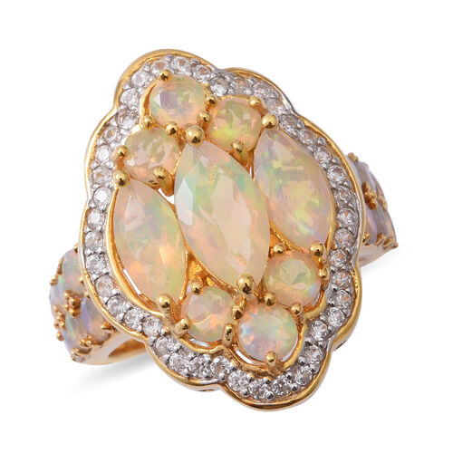 Ethiopian Welo Opal (Mrq), Natural Cambodian White Zircon Ring in Platinum and Yellow Gold Overlay Sterling Silver 4.700 Ct., Silver wt 9.60 Gms.