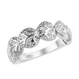 Platinum Overlay Sterling Silver Leaf Ring, Silver wt 3.55 Gms.
