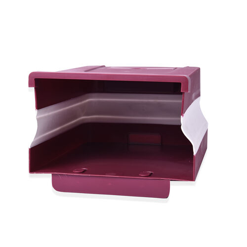10L Foldable Hanging Waste Bin in Burgundy and White (Size 26x20x14cm)