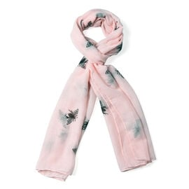 Light Pink Colour Bee Pattern Scarf (Size 180x70 Cm)