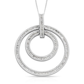 Diamond (Bgt) Circle Pendant with Chain (Size 18) in Platinum Overlay Sterling Silver 1.00 Ct, Silve