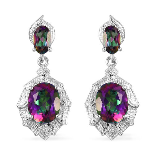 Mystic Topaz Earrings (with Push Back) in Platinum Overlay Sterling Silver