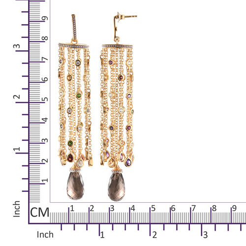 GP Brazilian Smoky Quartz and Multi Gemstone Chandelier Earrings (with Push Back) in 14K Gold Overlay Sterling Silver 25.000 Ct, Silver wt 20.26 Gms.