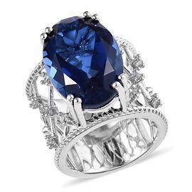 Minas Gerais Twilight Quartz (Ovl 18x13 mm), Natural Cambodian Zircon Ring in Platinum Overlay Sterl