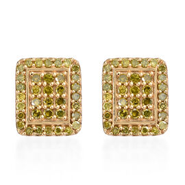 Yellow Diamond (Rnd) Earrings (with Push Back) in 14K Gold Overlay Sterling Silver 0.500 Ct.