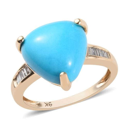 5.50 Ct AAA Arizona Sleeping Beauty Turquoise and Diamond Solitaire Ring in 9K Gold 2.25 Grams