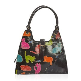 Limited Collection 100% Genuine Leather Hand Painting Playful Cat Pattern Shoulder Bag (Size 40x35 C