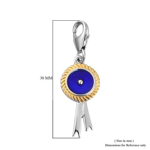 Platinum and Yellow Gold Overlay Sterling Silver Enamelled Award Ribbon Charm