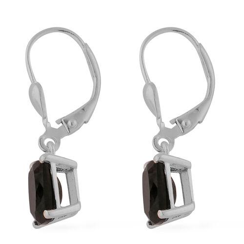 Black Tourmaline Lever Back Drop Earrings in Sterling Silver 2.50 Ct.