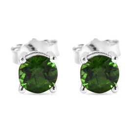 Russian Diopside Stud Earrings (with Push Back) in Rhodium Overlay Sterling Silver