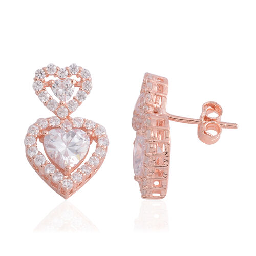 ELANZA Simulated Diamond (Rnd and Hrt) Dual Heart Cluster Earrings in Rose Gold Overlay Sterling Silver, Silver wt 3.60 Gms.