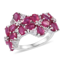 6.68 Ct African Ruby and Cambodian Zircon Ring in Sterling Silver 4.75 Grams