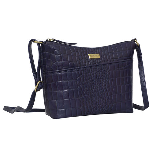 Assots London CAROL Croc Embossed Leather Crossbody Bag with Adjustable Shoulder Strap (Size 29x21x9cm) - Navy