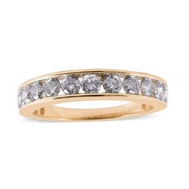 9K Yellow Gold SGL Certified Diamond (Rnd) (I3/G-H) Half Eternity Band Ring 1.00 Ct.