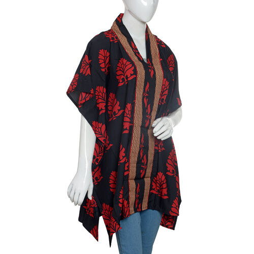 Designer Inspired-Black and Red Colour Damask Print Jacket (Size 80x70 Cm)