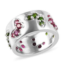 GP - African Ruby (Rnd), Russian Diopside and Blue Sapphire Butterfly Band Ring in Platinum Overlay