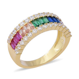 ELANZA Simulated Rainbow Sapphire Half Eternity Band Ring in 14K Gold Plated Silver 4.58 Grams