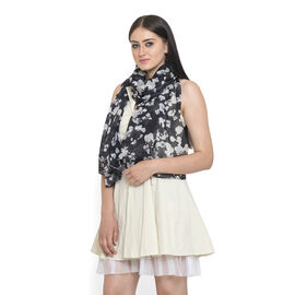 100% Mulberry Silk Black and White Colour Printed Pareo (Size 180x100 Cm)