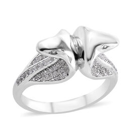 Bali Legacy White Cambodian Zircon Snake Ring in Sterling Silver 9.33 Grams