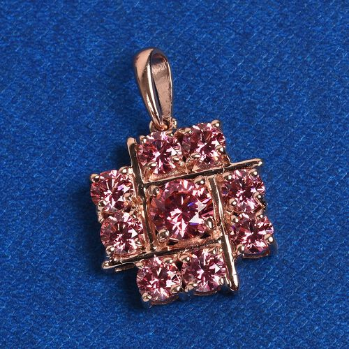 J Francis - Rose Gold Overlay Sterling Silver Pendant  Made with PINK SWAROVSKI ZIRCONIA