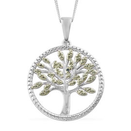 Super Monday Deal-Green Diamond (Rnd) Tree of Life Pendant with Chain (Size 18) in Platinum and Green Overlay Sterling Silver