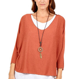 Made in Italy- NOVA of the London Long Sleeve Top in Terracota Tea and White Colour (Size up to 16)