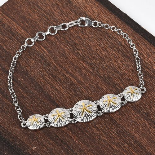 Platinum and Yellow Gold Overlay Sterling Silver Starfish Bracelet (Size 6.25 with 1 inch Extender), Silver wt. 5.23 Gms