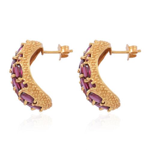 Rhodolite Garnet (Ovl) Stud Earrings (with Push Back) in 14K Gold Overlay Sterling Silver 18.000 Ct.