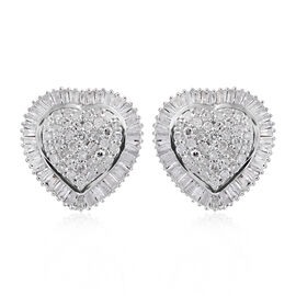 9K White Gold SGL Certified Diamond (Rnd and Bgt) (I3/G-H) Heart Stud Earrings (with Push Back)  0.750 Ct.