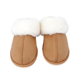 Super Soft Suede Home Slippers with Faux Fur (Size M: 5-6) - Coffee