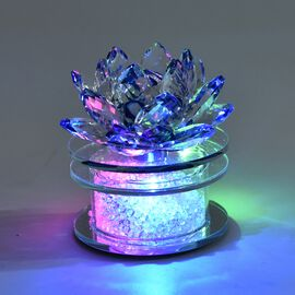 Crystal Lotus Flower Table Lamp with Multicolour LED and Rotating Base (Size 10x10 Cm) - Blue
