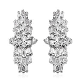ILIANA 18K White Gold IGI Certified Diamond (Bgt and Rnd) (SI/G-H) Earrings (With Screw Back) 0.500