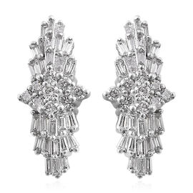 RHAPSODY 950 Platinum IGI Certified Diamond (Bgt and Rnd) (VS / E-F) Earrings (with Screw Back) 0.50