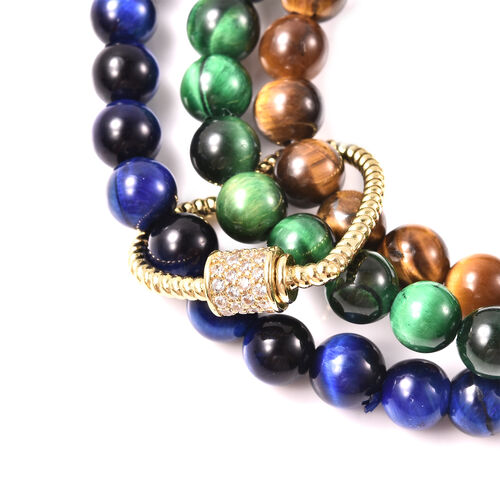 4 Piece Set - Yellow, Green and Blue Tigers Eye and Simulated Diamond Bracelets (3 Pcs) and Pendant in Yellow Gold Tone
