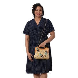 LA MAREY Wooden Clasp Handbag in Yellow and Multi (Size 26.5x7x21 Cm)