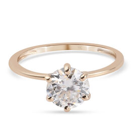 9K Yellow Gold Moissanite Solitaire Ring 1.20 Ct.