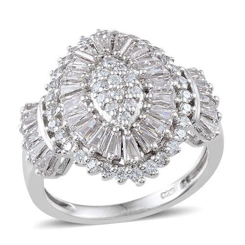 J Francis - Platinum Overlay Sterling Silver (Rnd) Ring Made With SWAROVSKI ZIRCONIA 2.250 Ct.