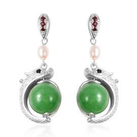 33.85 Ct Green Jade and Multi Gemstone Dragon Drop Earrings in Rhodium Plated Silver 7.50 Grams
