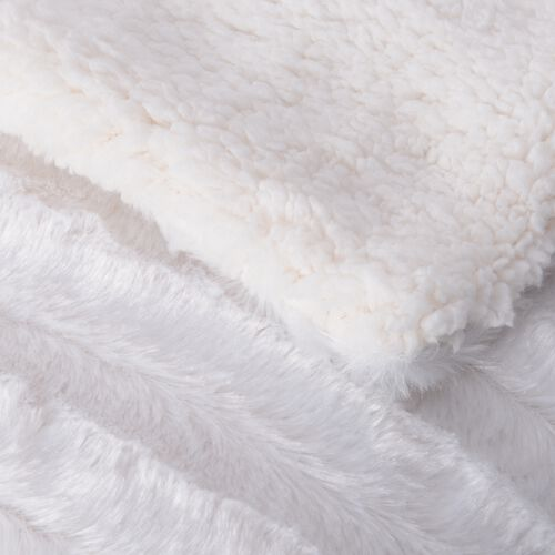 White Colour Faux Fur Sherpa Stripe Pattern Blanket (Size 200x150 Cm)
