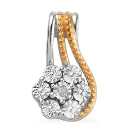 Diamond Floral Pendant in Platinum and Yellow Gold Plated Sterling Silver