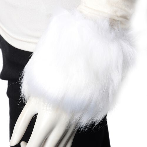 3 Piece Set - Faux Fur Hat, Scarf and Cuff Bracelet - White