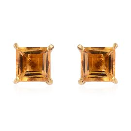 Citrine (Sqr) Stud Earrings (with Push Back) in 14K Yellow Gold Overlay Sterling Silver 2.250 Ct.