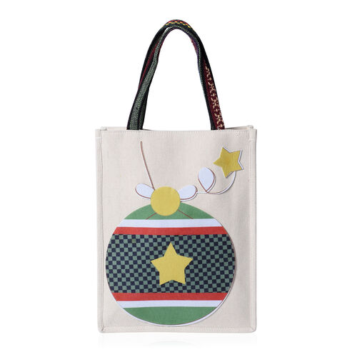 Tote Bag with Ball Pattern (Size 26x8x32 Cm) - Beige