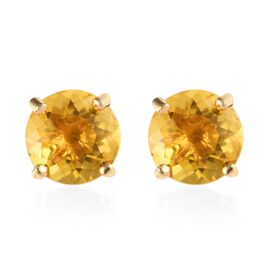 Yellow Fluorite (Rnd) Solitaire Stud Earrings (with Push Back) in 14K Gold Overlay Sterling Silver 2