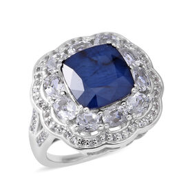7.80 Ct Kanchanaburi Blue Sapphire and White Topaz Halo Cocktail Ring in Rhodium Plated Silver