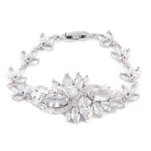 Simulated White Diamond (Mrq) Floral Bracelet (Size 6.5) in Silver Tone